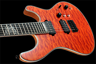 Mayones Regius 6 Piezo Quilted Maple Custom Shop electric guitar - 11-pcs ntb neck, quilted maple top, swamp ash body, Seymour Duncan pickups, ABM GraphTech bridge, Sperzel tuners, Celtic Butterfly, Transparent Orange finish
