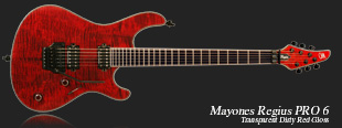 Mayones Regius Pro 6 Transparent Dirty Red Gloss finish (T-DRED-G) - neck-through construction, Swamp Ash body, Flamed Maple top, 3-ply pearl acryl body, fingerboard, and head binging, 11-ply Maple|Mahogany|Amazakoe|Wenge neck, Ebony fretboard, 24 medium jumbo frets, Seymour Duncan SH-4 bridge and SH-2 neck professional class pickups, Schaller Floyd Rose Pro bridge, Schaller tuners, 3-position slide switch, Volume & Tone knob, Switchcraft output, black hardware.