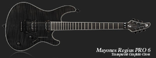 Mayones Regius Pro 6 Transparent Graphite Gloss finish (T-GRA-G) - neck-through construction, Swamp Ash body, Flamed Maple top, 3-ply pearl acryl body, fingerboard, and head binging, 11-ply Maple|Mahogany|Amazakoe|Wenge neck, Ebony fretboard, 24 medium jumbo frets, Seymour Duncan SH-4 bridge and SH-2 neck professional class pickups, Schaller Floyd Rose Pro bridge, Schaller tuners, 3-position slide switch, Volume & Tone knob, Switchcraft output, black hardware.