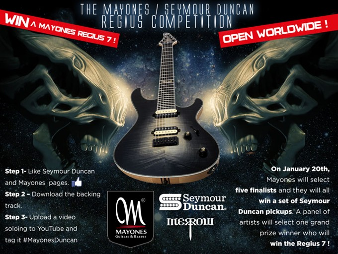 Mayones and Seymour Duncan Competition - Win a Mayones Regius 7 Custom Shop guitar or a set of Seymour Duncan pickups